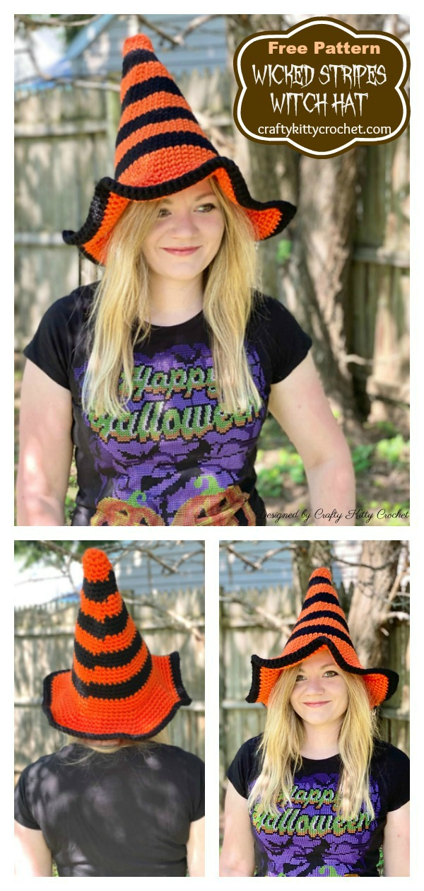 Wicked Stripes Witch Hat Free Crochet Pattern