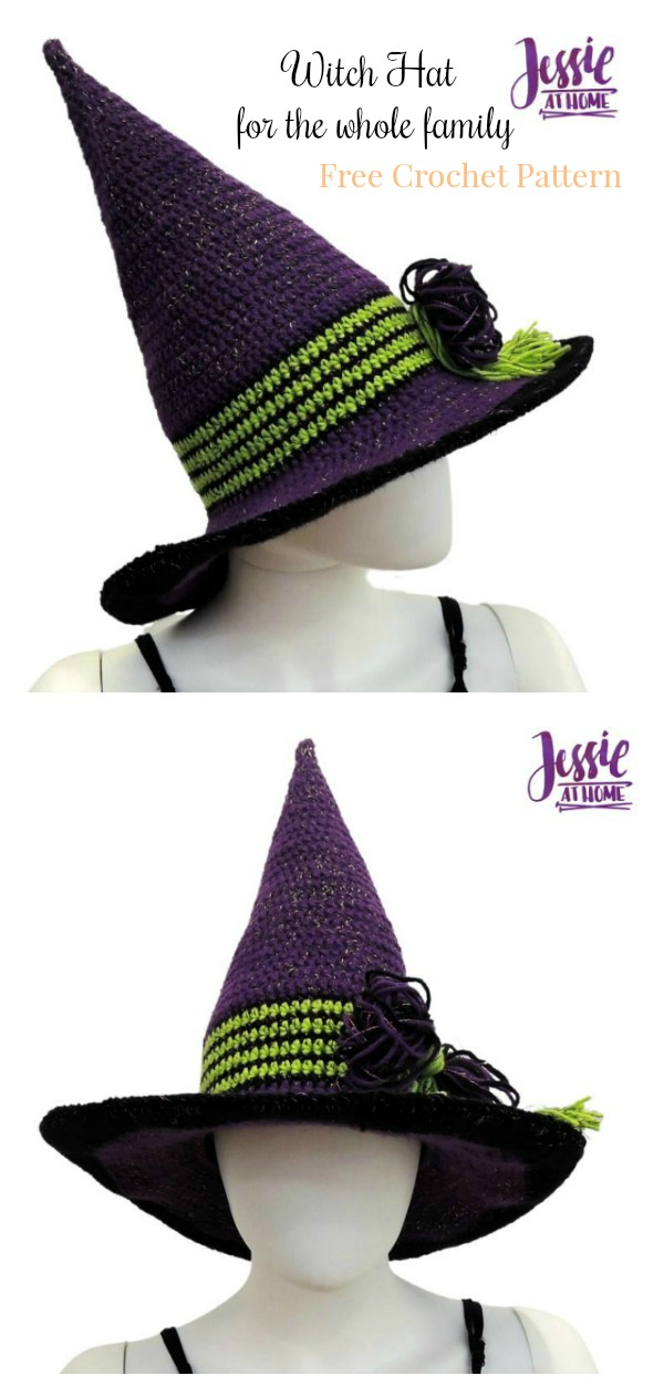 Witch Hat for The Whole Family Free Crochet Pattern