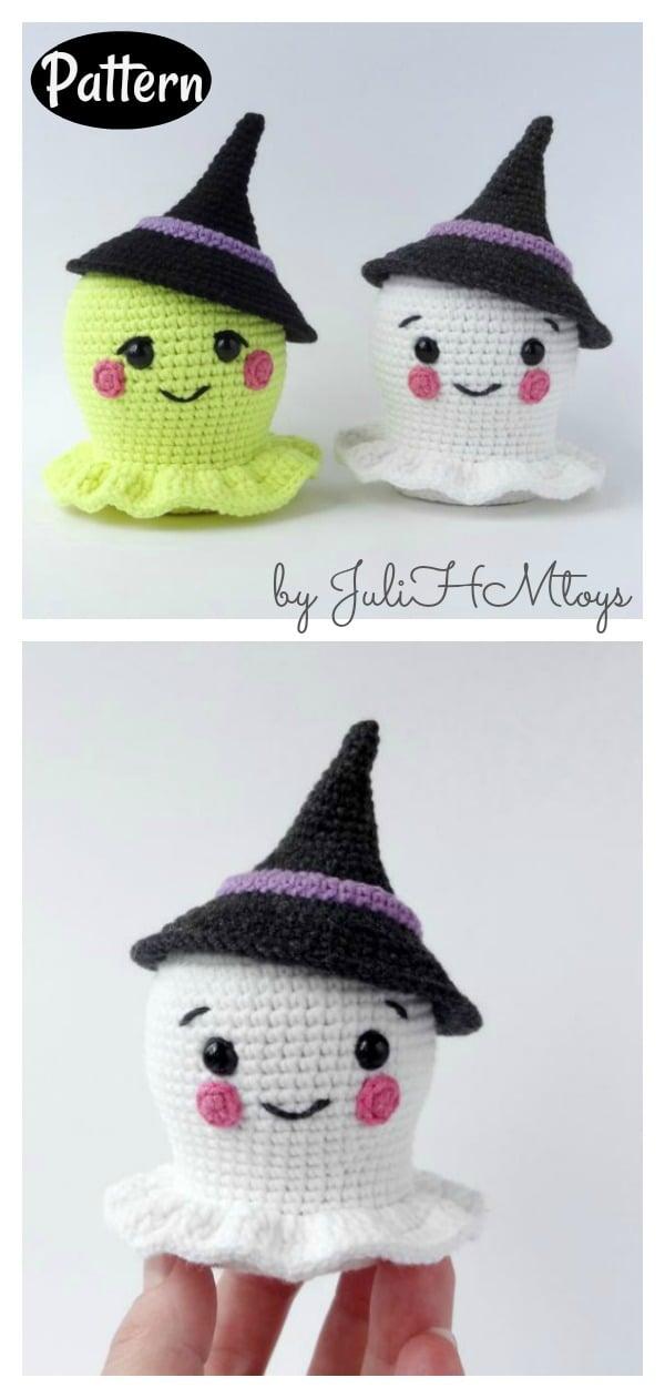 Amigurumi Ghost in a Witch Hat Halloween Crochet Pattern