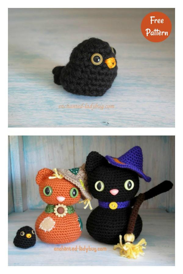 Amigurumi Scarecrow Cat and Crow Free Crochet pattern