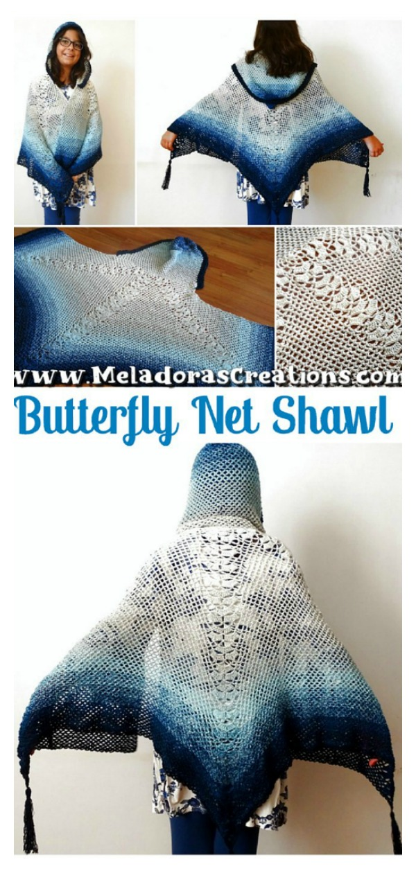 Butterfly Net Shawl Free Crochet Pattern