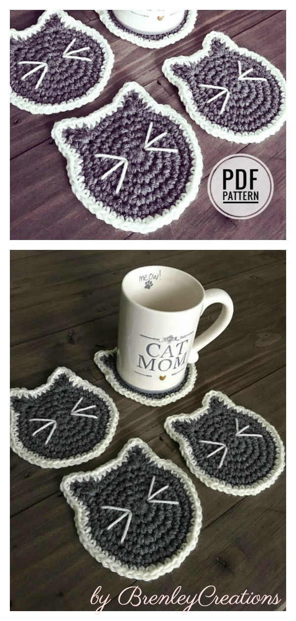 Cat Face Drink Coaster Crochet Pattern
