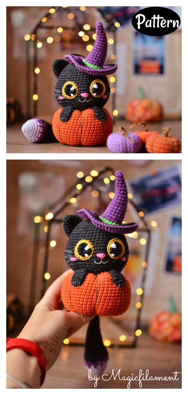 Cat in Pumpkin Amigurumi Crochet Pattern