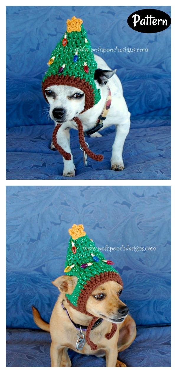 Christmas Tree Dog Hat Crochet Pattern