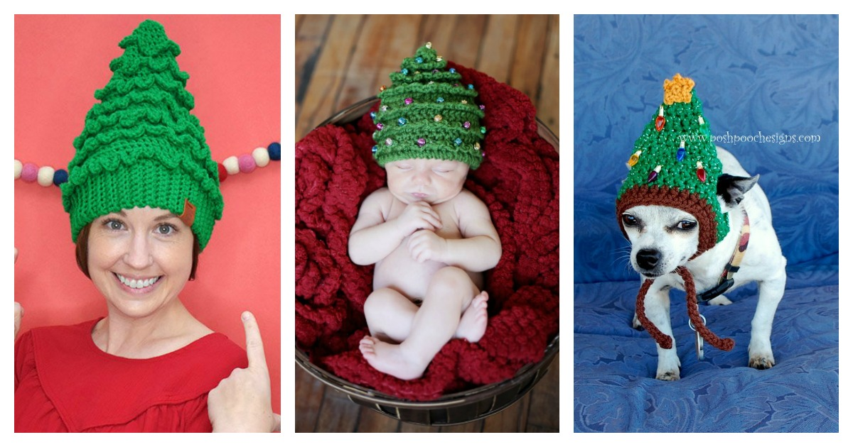 6 Christmas Tree Hat Free Crochet Pattern And Paid