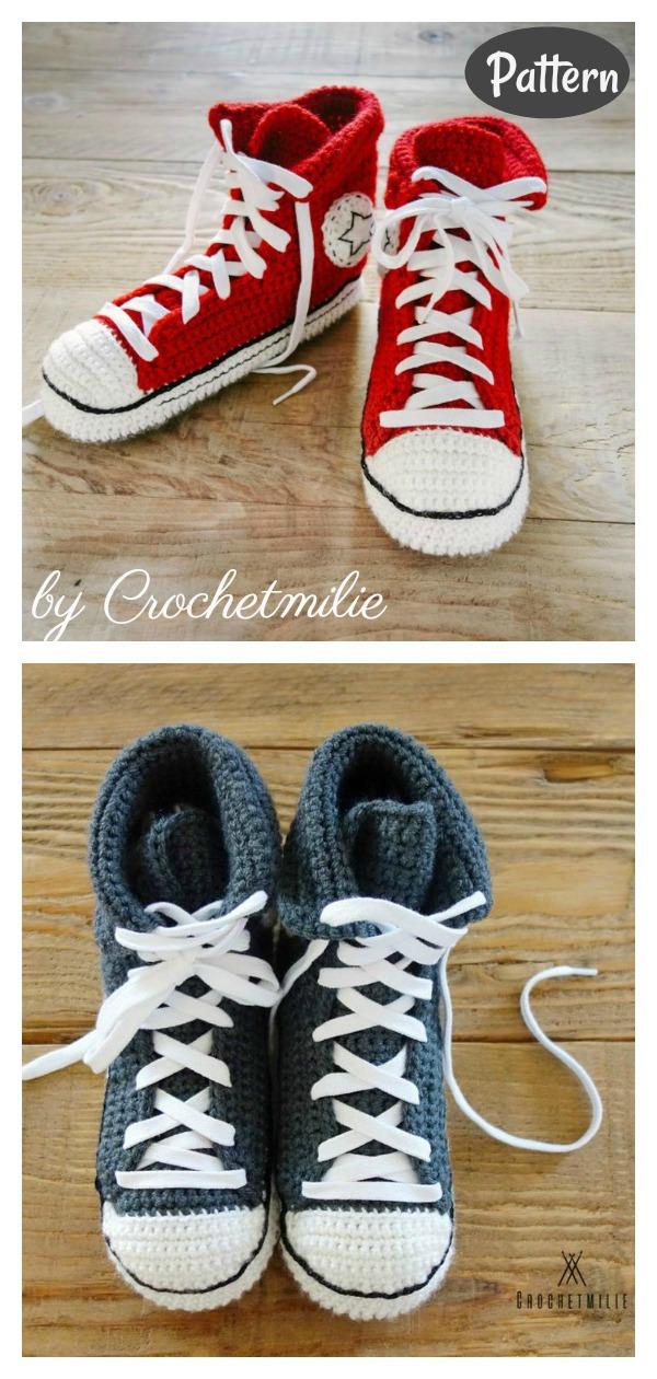 Converse Style Sneaker Slippers Crochet Pattern