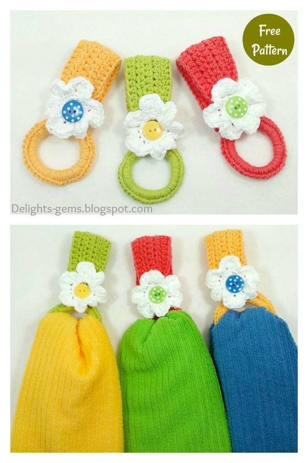 Daisy Towel Holder Free Crochet Pattern