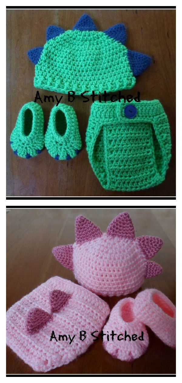 Dinosaur Baby Hat and Diaper Cover Set Free Crochet Pattern
