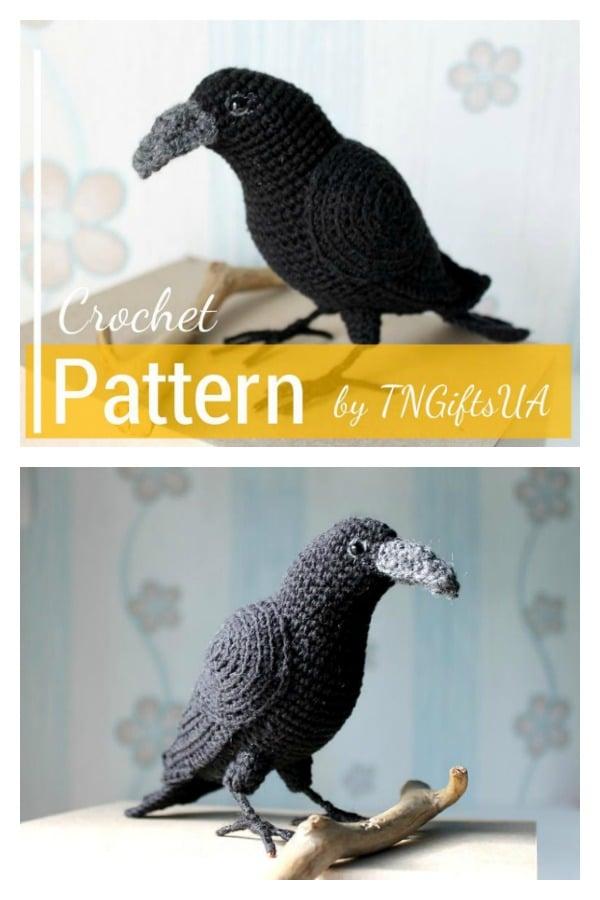 Gothic Black Raven Amigurumi Crow Crochet Pattern
