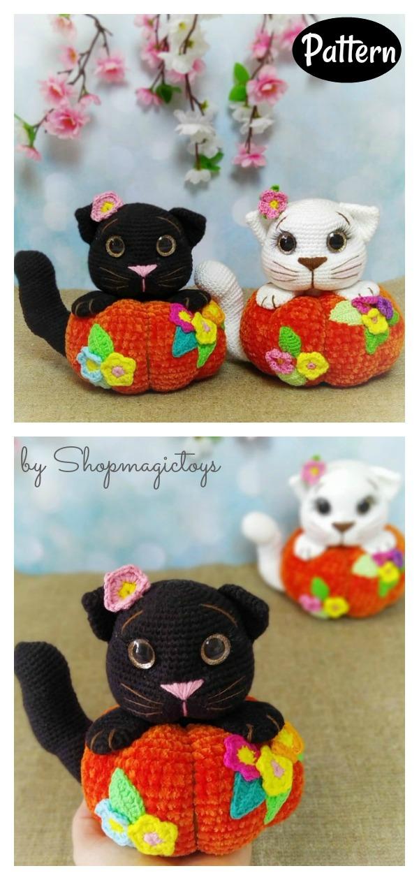 Halloween Amigurumi Cat in Pumpkin Crochet Pattern