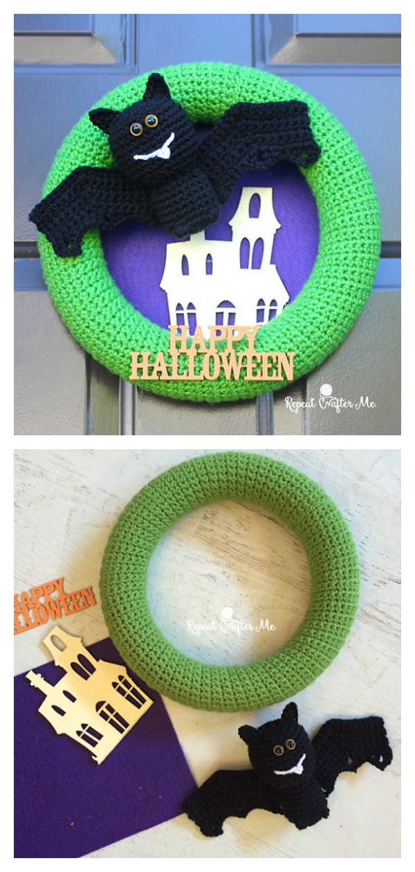 Halloween Bat Wreath Free Crochet Pattern