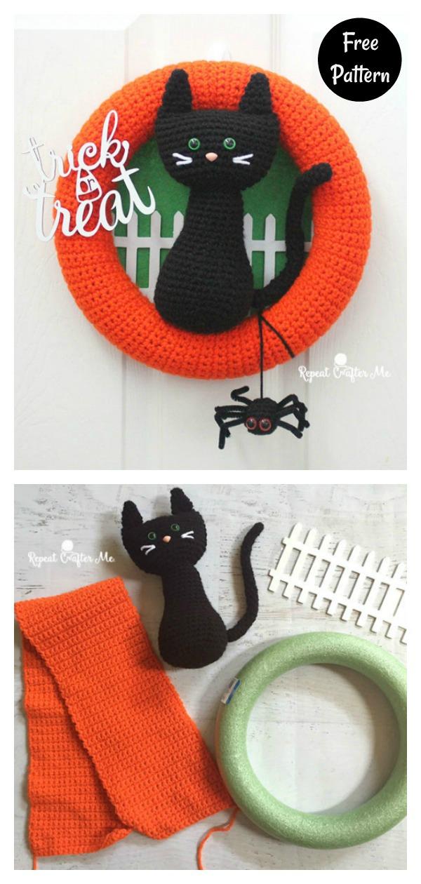 Halloween Black Cat Wreath Free Crochet Pattern