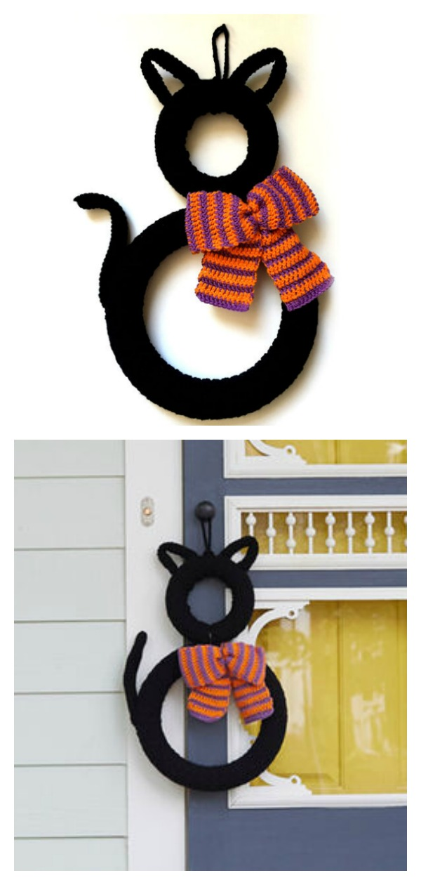 Halloween Black Cat Wreath Free Crochet Pattern