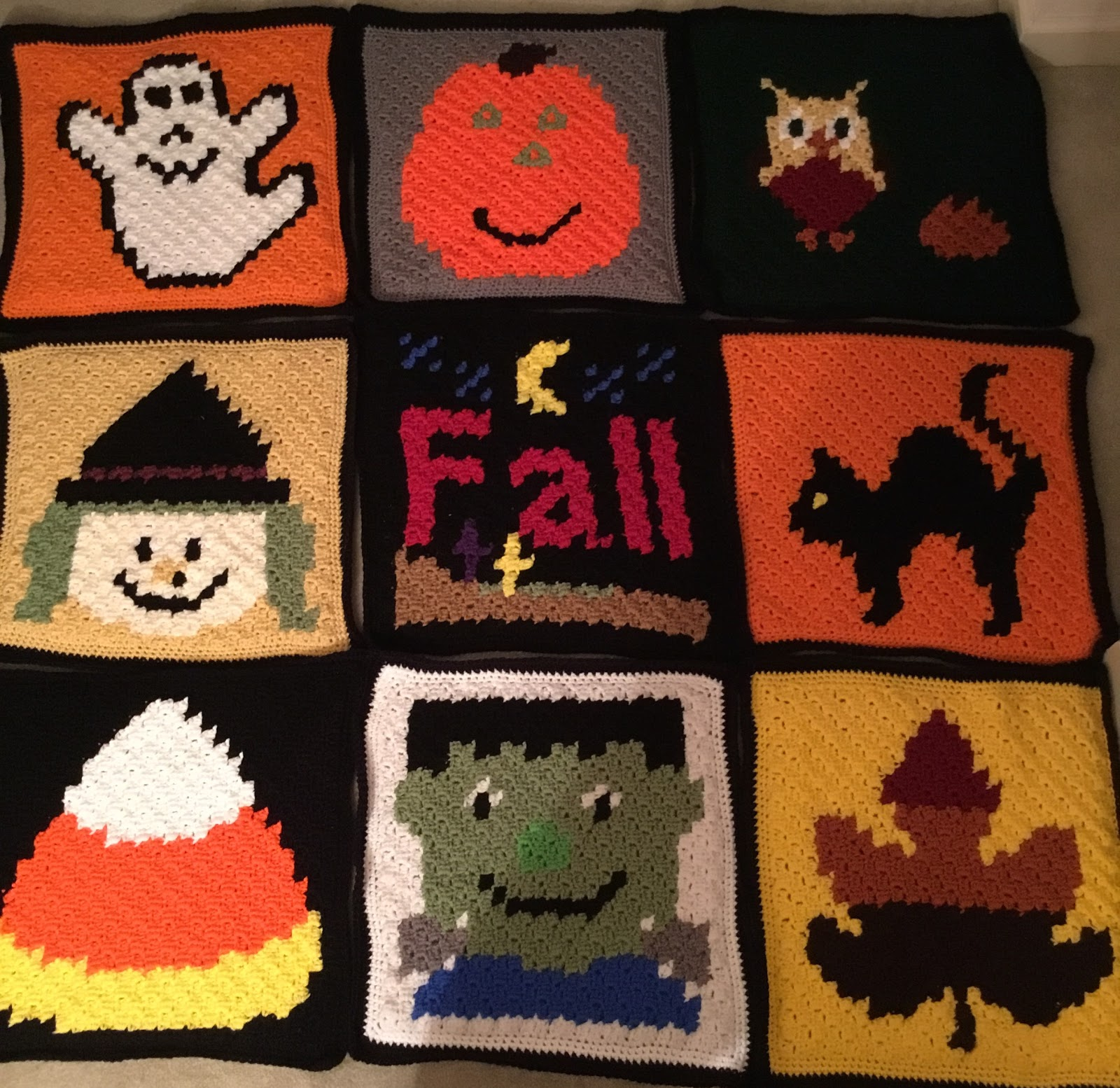 Halloween C2C Blanket Free Crochet Pattern