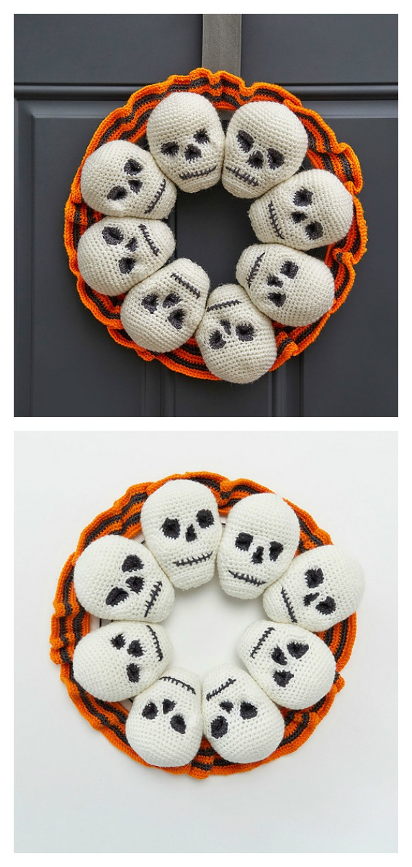 Halloween Circle of Skulls Wreath Free Crochet Pattern