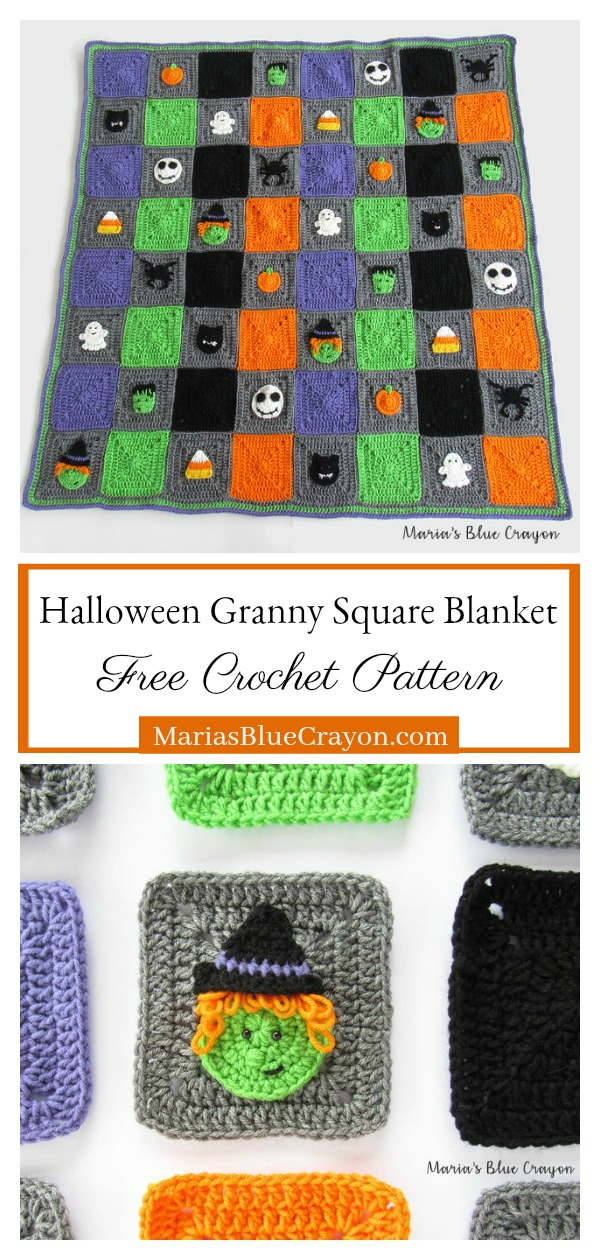 Halloween Granny Square Blanket Free Crochet Pattern