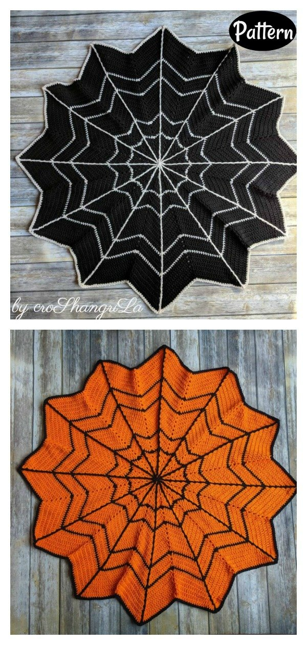Halloween Spider web blanket crochet pattern