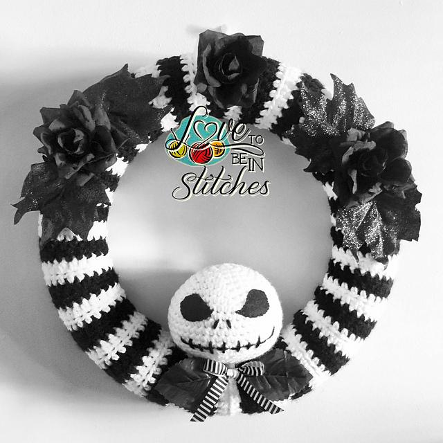 Jack Skellington Wreath Free Crochet Pattern