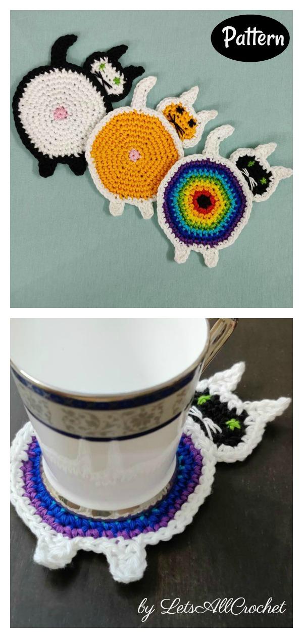 Peeking Cat Butt Coaster Crochet Pattern