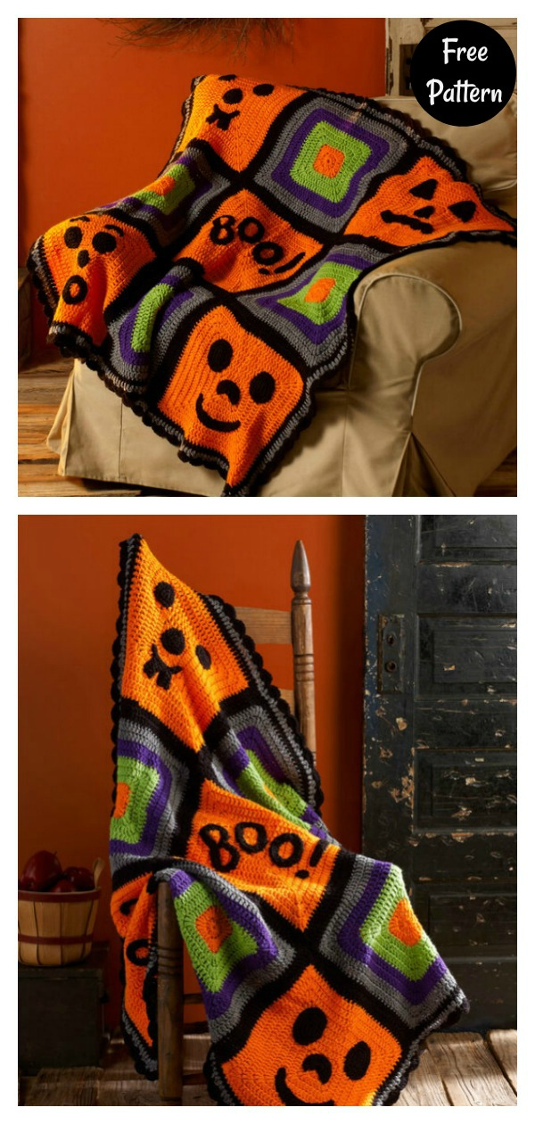 Pumpkin Face Throw Free Crochet Pattern