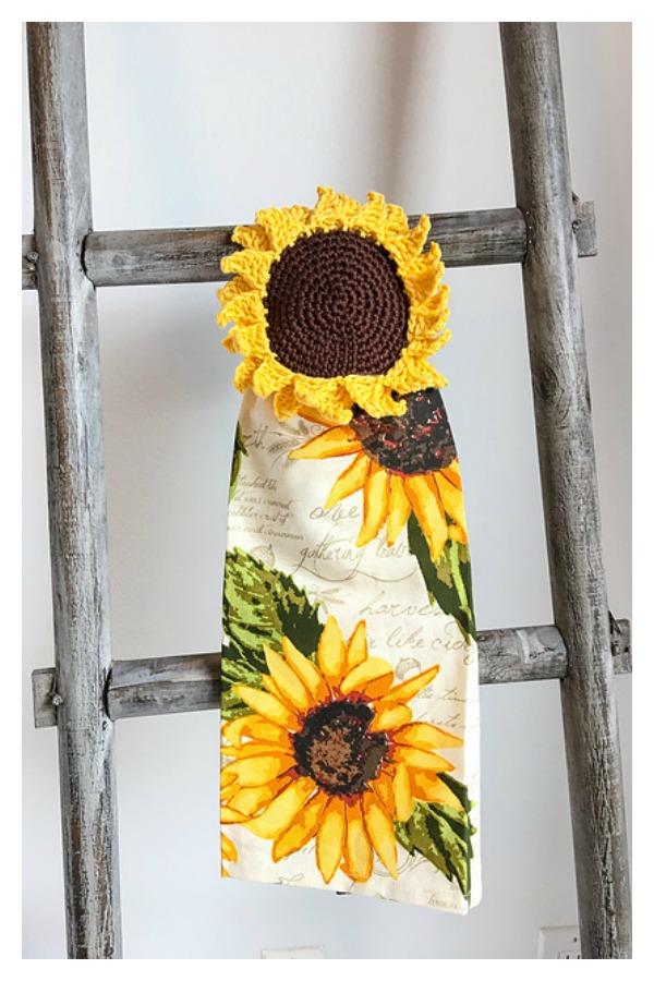 Rustic Sunflower Towel Topper Free Crochet Pattern