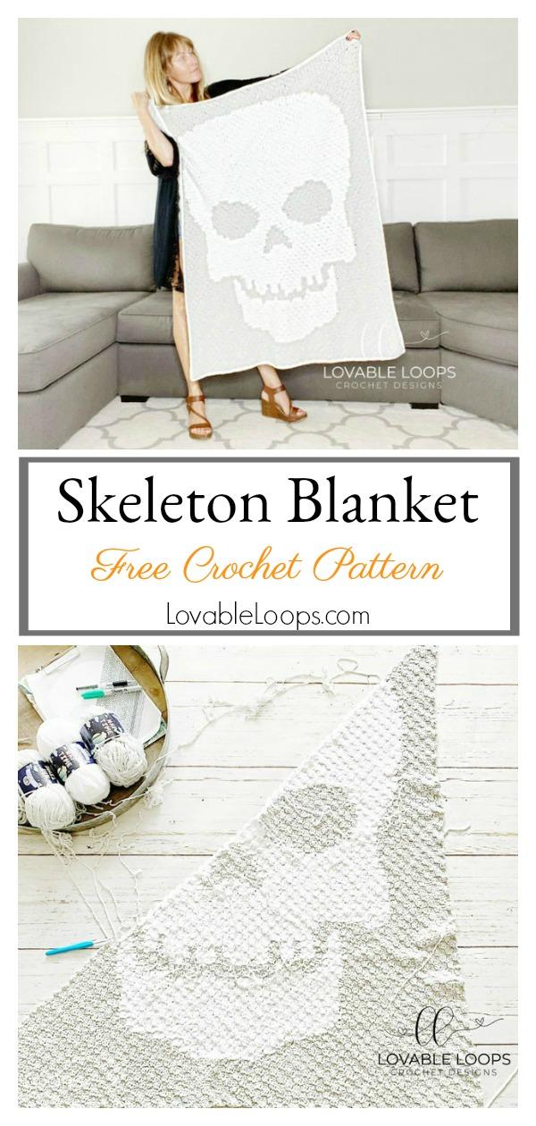 Skeleton Blanket Free Crochet Pattern