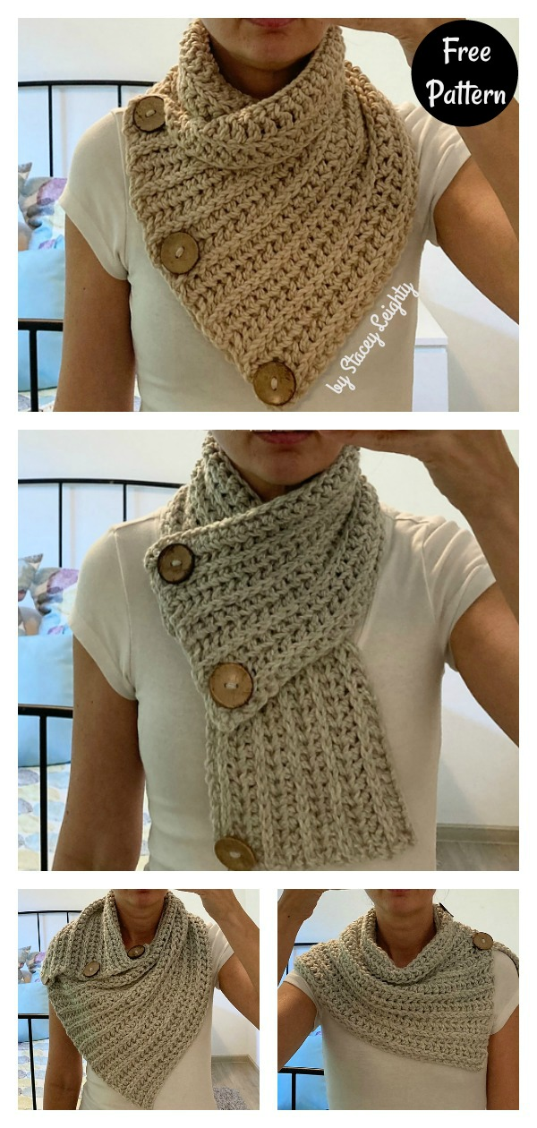 Versatile Ribbed Button Cowl Free Crochet Pattern