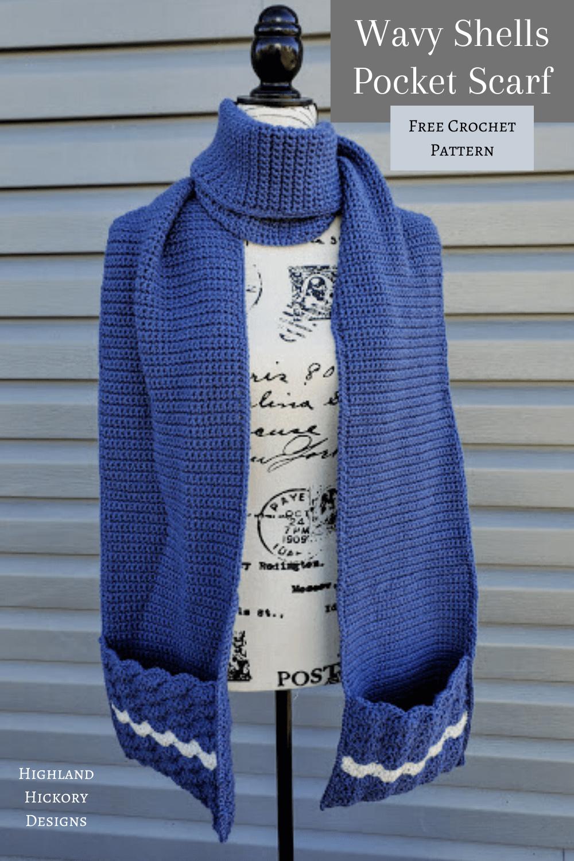 Wavy Shells Pocket Scarf Free Crochet Pattern