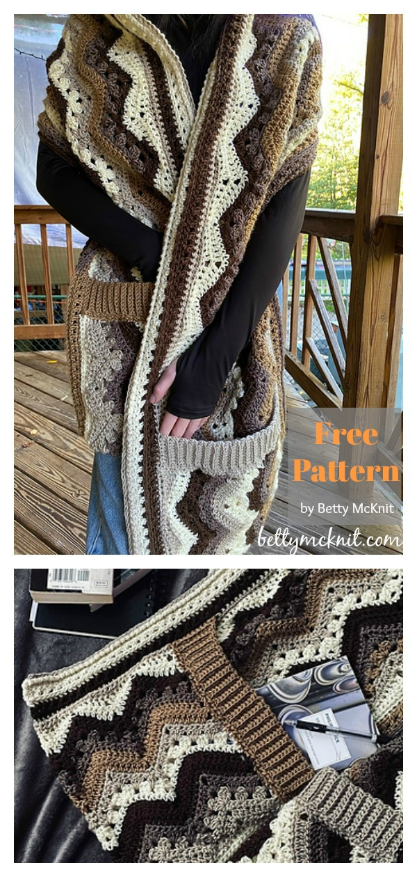 6-Day Sideways Pocket Shawl Free Crochet Pattern