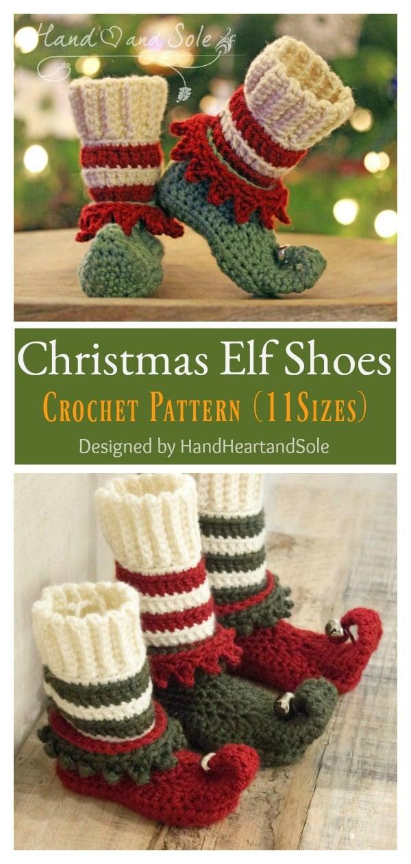 Sevimli Noel Elf Ayakkabıları Tığ Desen
