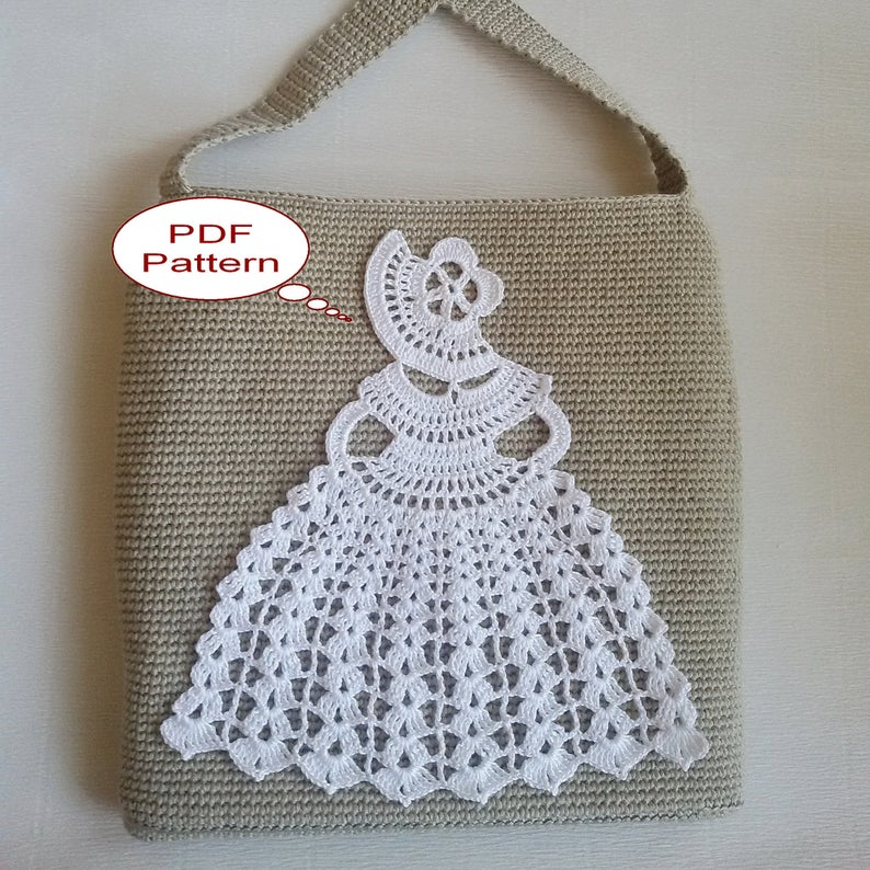 Bag with the Crinoline Lady Doily Crochet Pattern