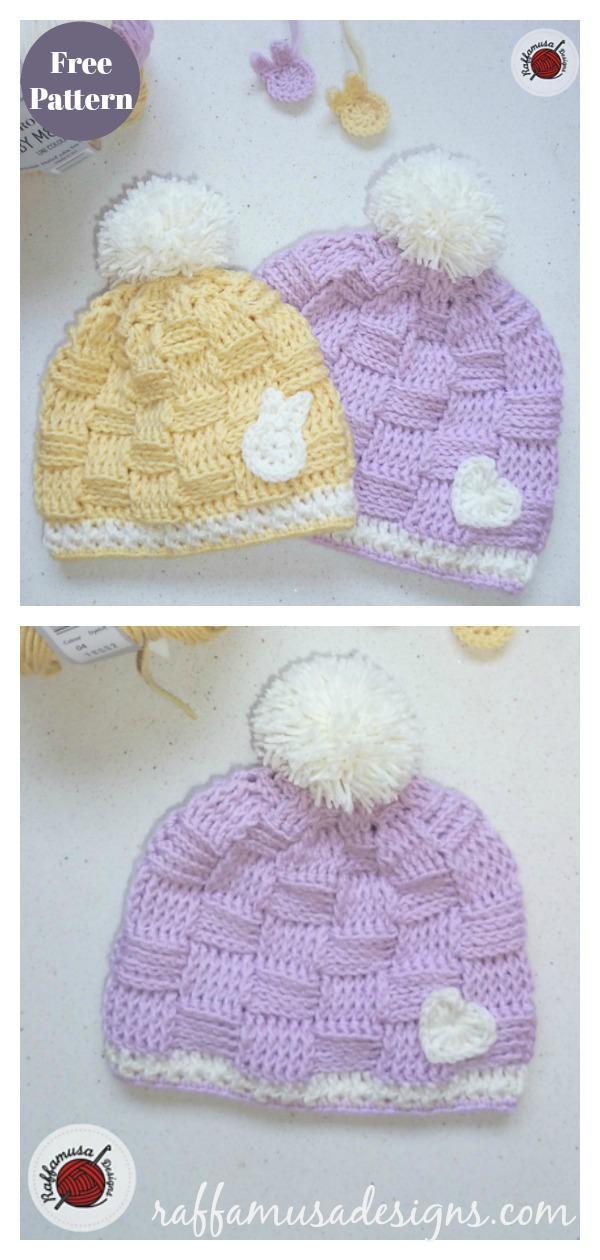 Basketweave Baby Beanie Hat Free Crochet Pattern