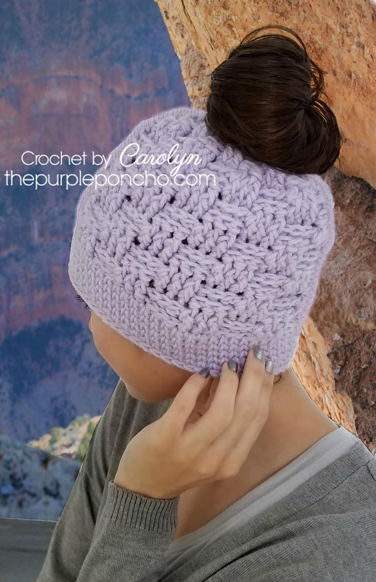 Basketweave Messy Bun Hat Free Crochet Pattern