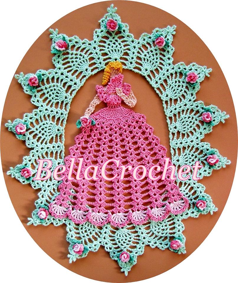 Belle in the Rose Garden Crinoline Lady Doily Free Crochet Pattern