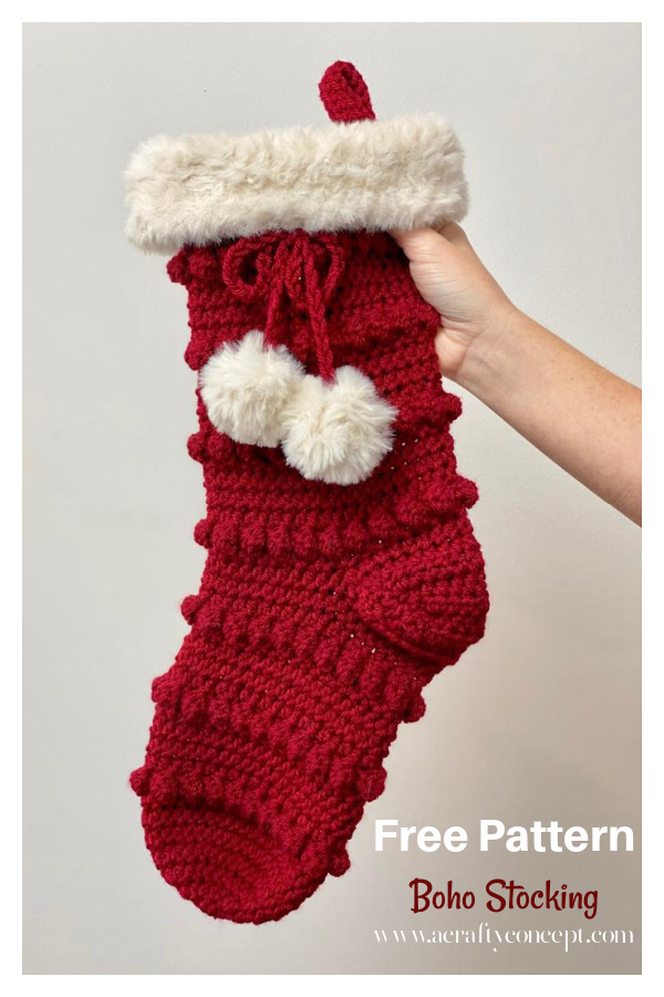Boho Christmas Stocking Free Crochet Pattern