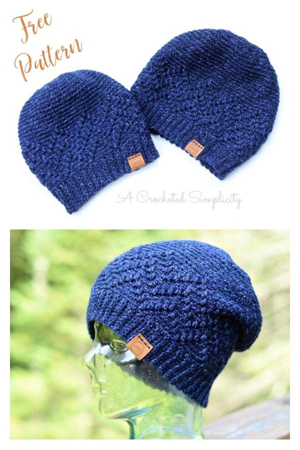 Chevron Peaks Slouch Free Crochet Pattern