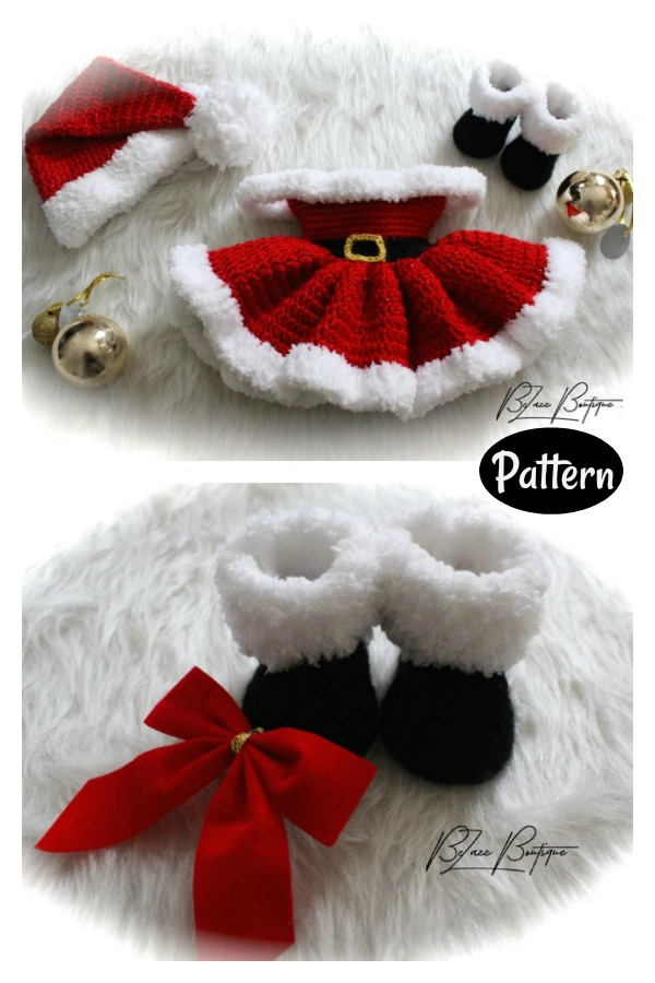 Christmas Baby Dress Santa Hat Santa Boots Set Crochet Pattern