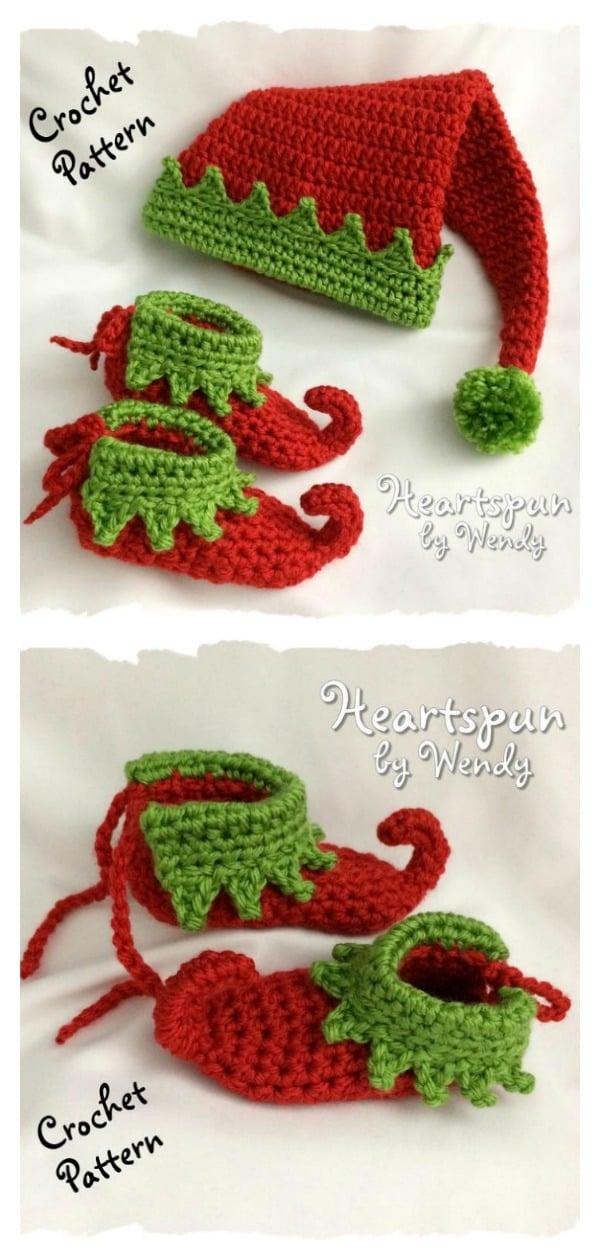 Noel Elf Bebek Şapka ve Ayakkabı Seti Tığ Desen
