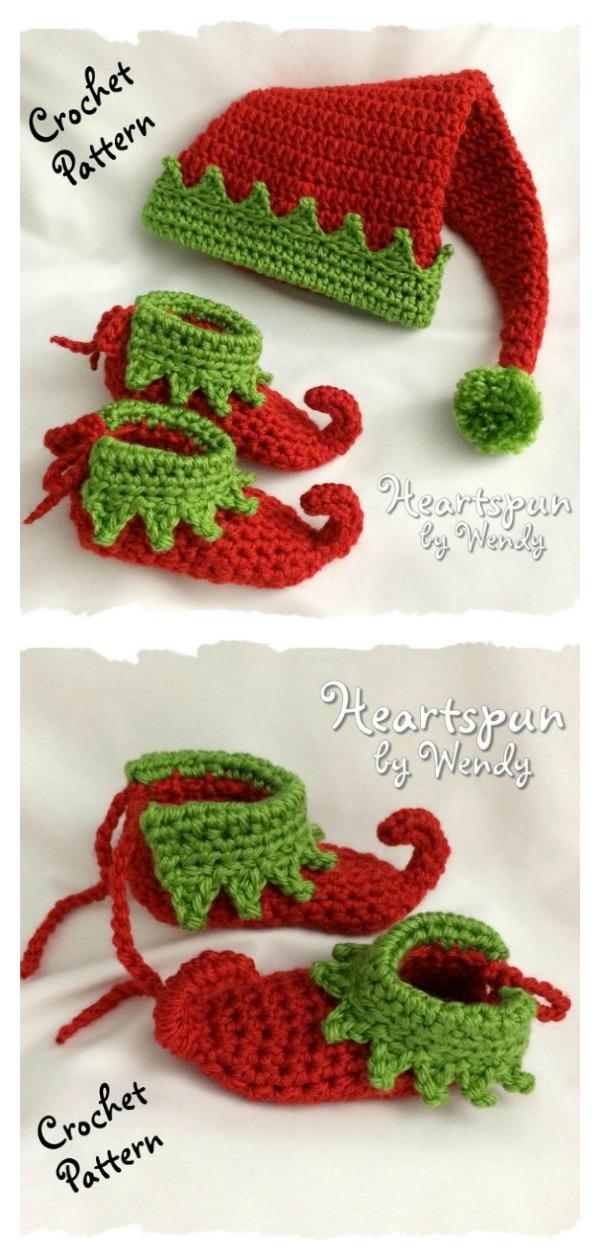 Christmas Elf Baby Hat and Shoe Set Crochet Pattern