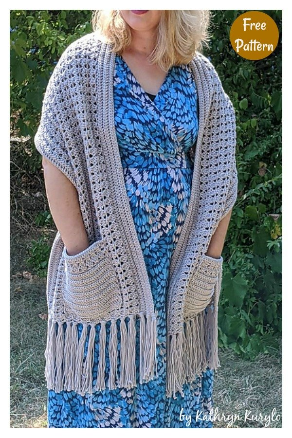 Delicate Pocket Shawl Free Crochet Pattern