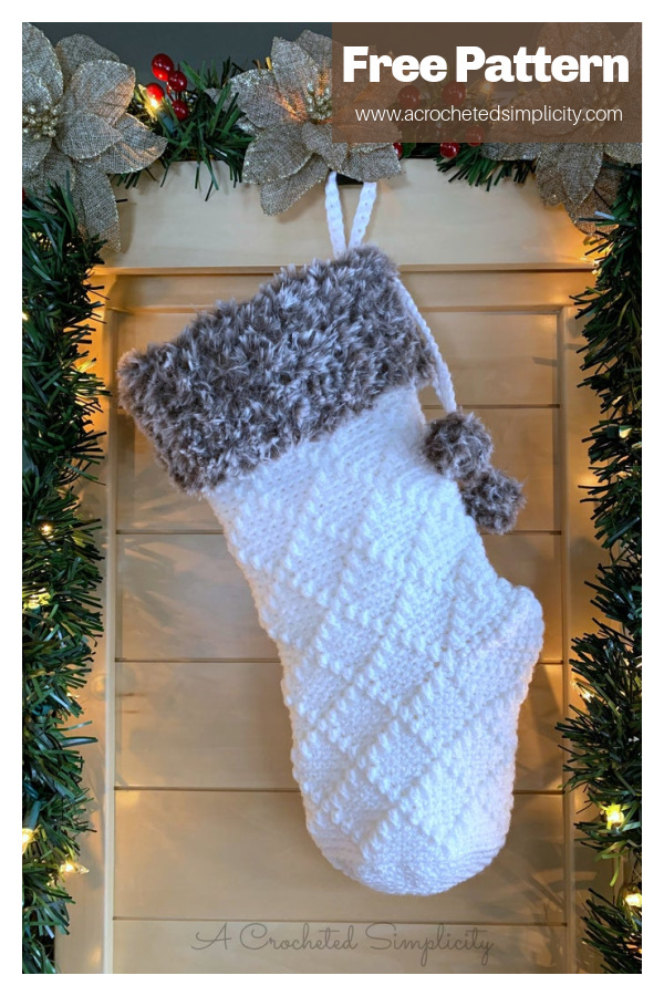 Diamonds and Fur Christmas Stocking Free Crochet Pattern
