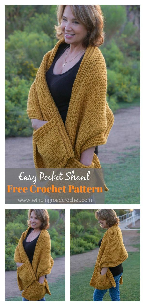 Easy Pocket Shawl Free Crochet Pattern