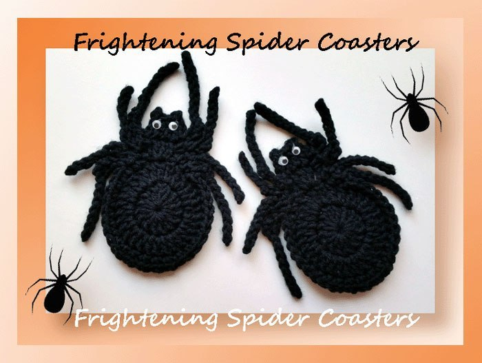 Frightening Spider Coasters Free Crochet Pattern