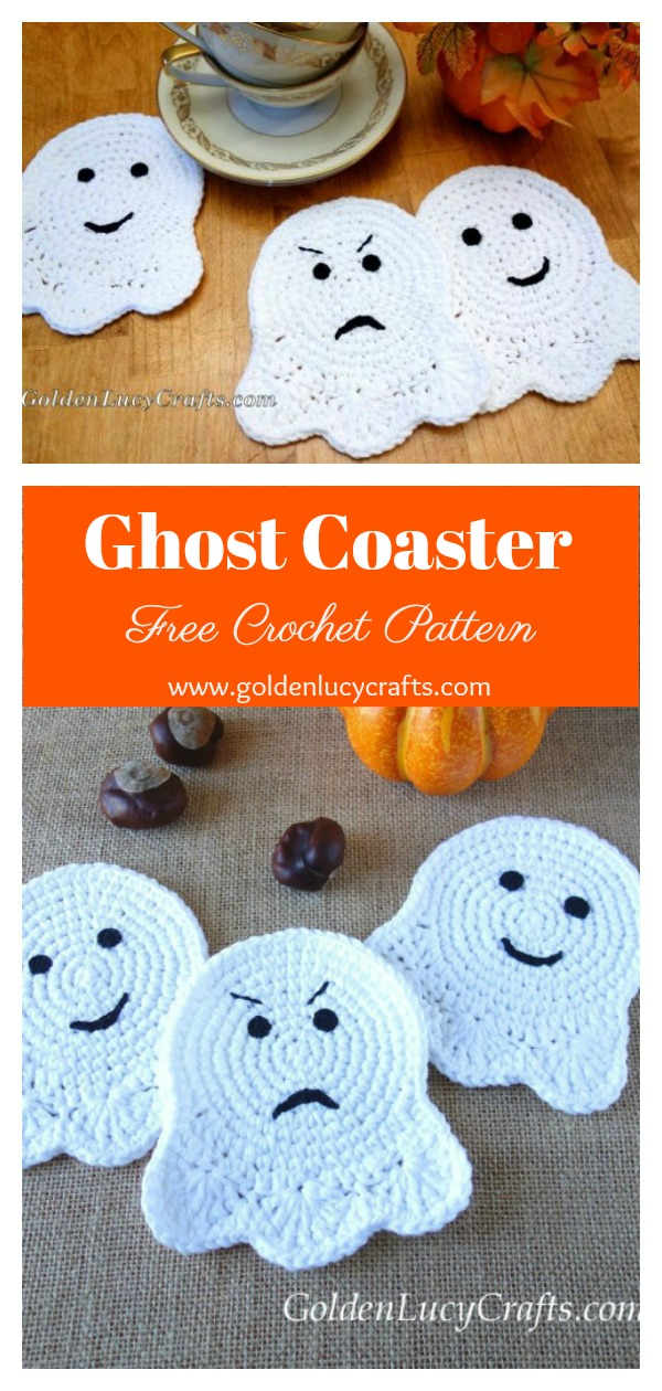 Ghost Coaster Free Crochet Pattern