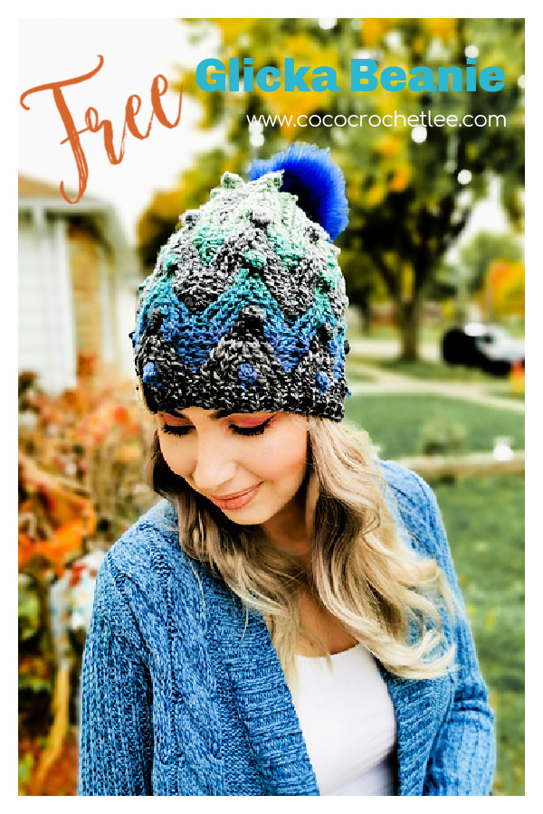 Glicka Beanie Chevron Hat Free Crochet Pattern