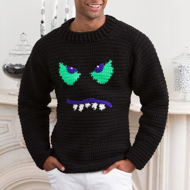 Halloween Monster Face Sweater Free Crochet Pattern