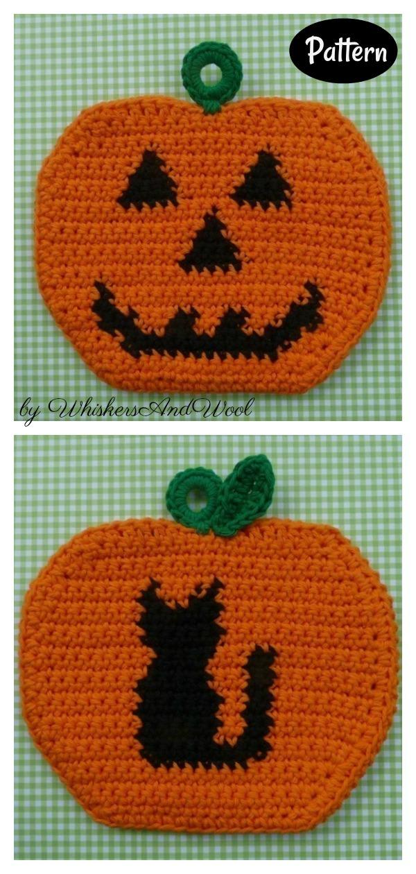 Halloween Pumpkin Potholders Crochet Pattern
