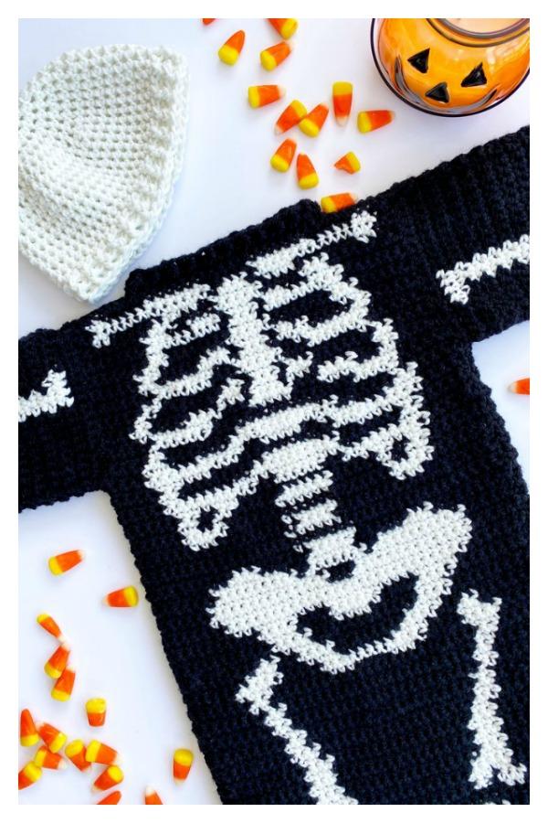 Halloween Skeleton Baby Costume Sweater Free Crochet Pattern