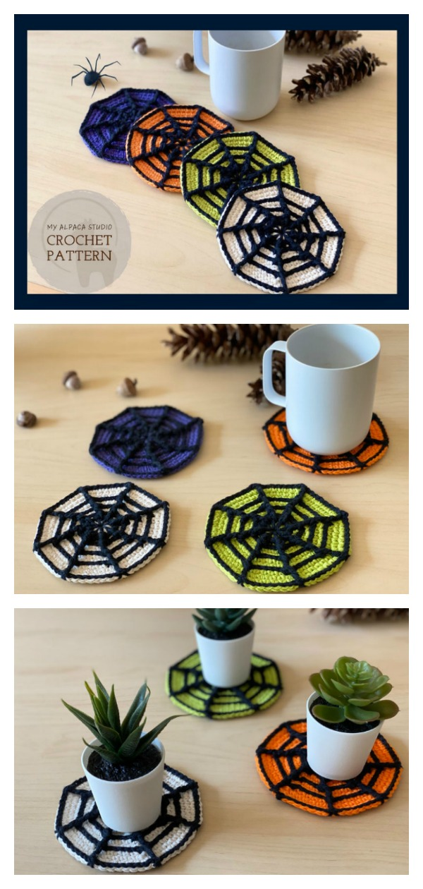 Halloween Spider Web Coasters Crochet Pattern