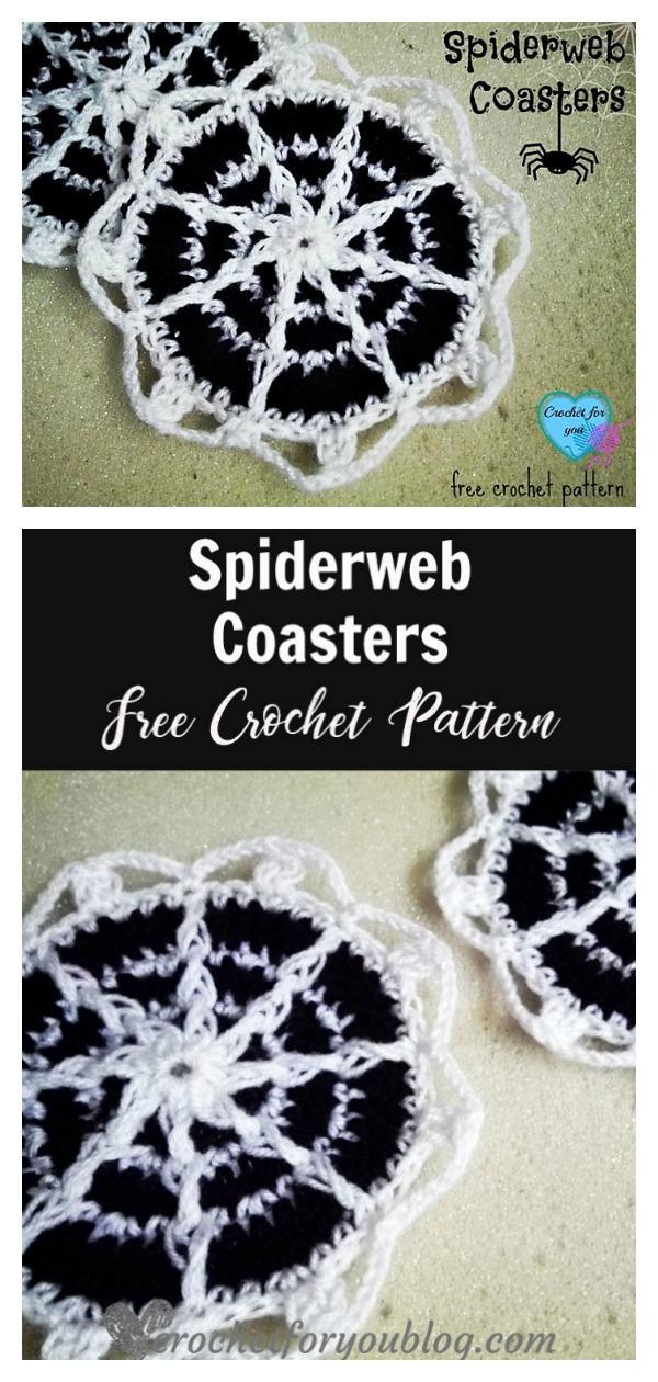 Halloween Spiderweb Coasters Free Crochet Pattern
